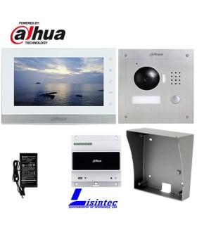 Kit de Videoporteiro 2 fios IP Dahua composto por VTO2000A-2 e VTH1550CHW-2