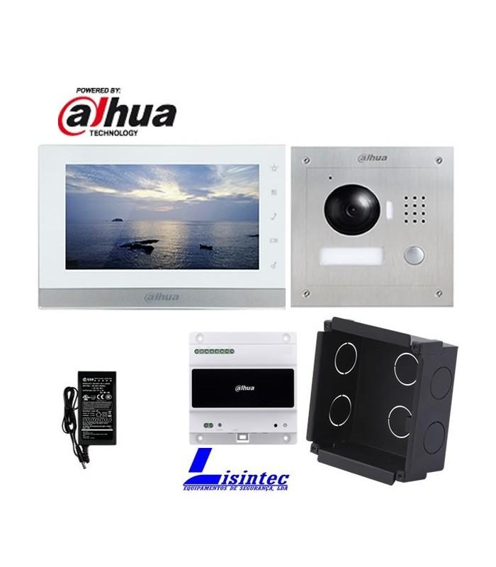 Kit de Videoporteiro 2 fios IP Dahua composto por VTO2000A-2 e VTH1550CHW-2, instalação de encastrar