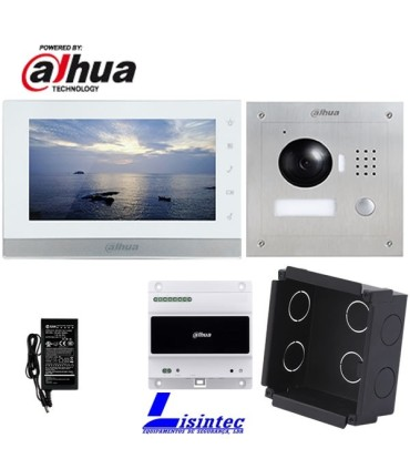 Dahua IP 2-wire Video doorphone Kit consisting of VTO2000A-2 and VTH1550CHW-2, recessed installation