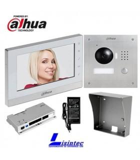 Kit de Video Portero IP Dahua, compuesto por VTO2000A + VTH1550CH + VTOB108-SS