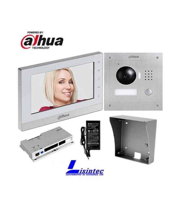 Kit de videoporteiro IP Dahua composto por VTO2000A + VTH1550CH + VTOB108-SS