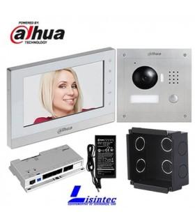 Kit de Video Portero IP Dahua, compuesto por VTO2000A + VTH1550CH + VTOB107