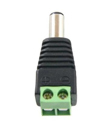 Conector DC macho con salida +/- de 2 terminales.