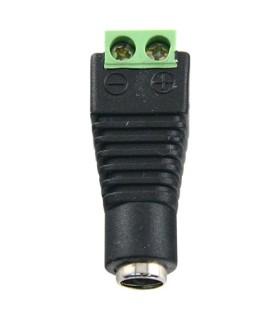 Conector DC hembra con salida +/- de 2 terminales.