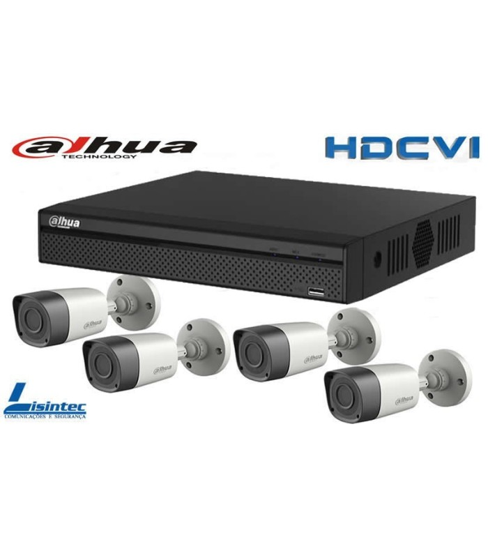 Kit CCTV Gravador com 4 camaras HDCVI Dahua