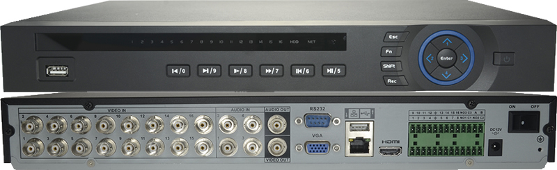 Video recorder 16 channels with alarm HDCVI